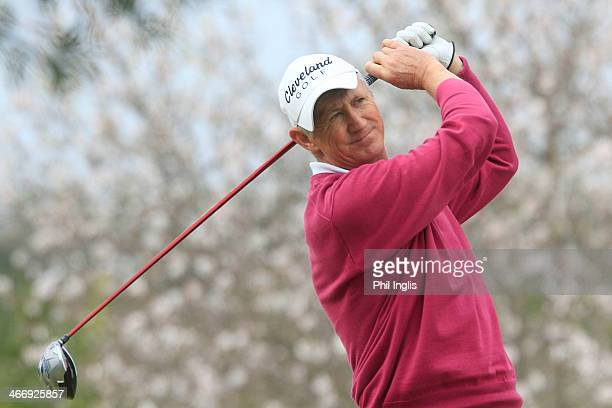 Andrew Murray of England watches his drive from the 10th tee during the third round of the European Senior Tour Qualifying School Finals played at...