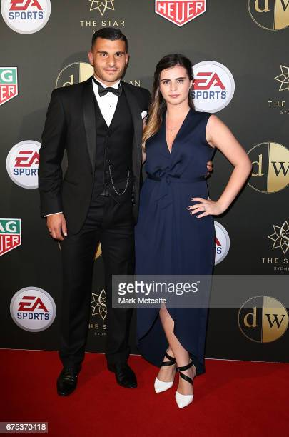 Andrew Nabbout and Samantha Sposaro arrive ahead of the FFA Dolan Warren Awards at The Star on May 1 2017 in Sydney Australia