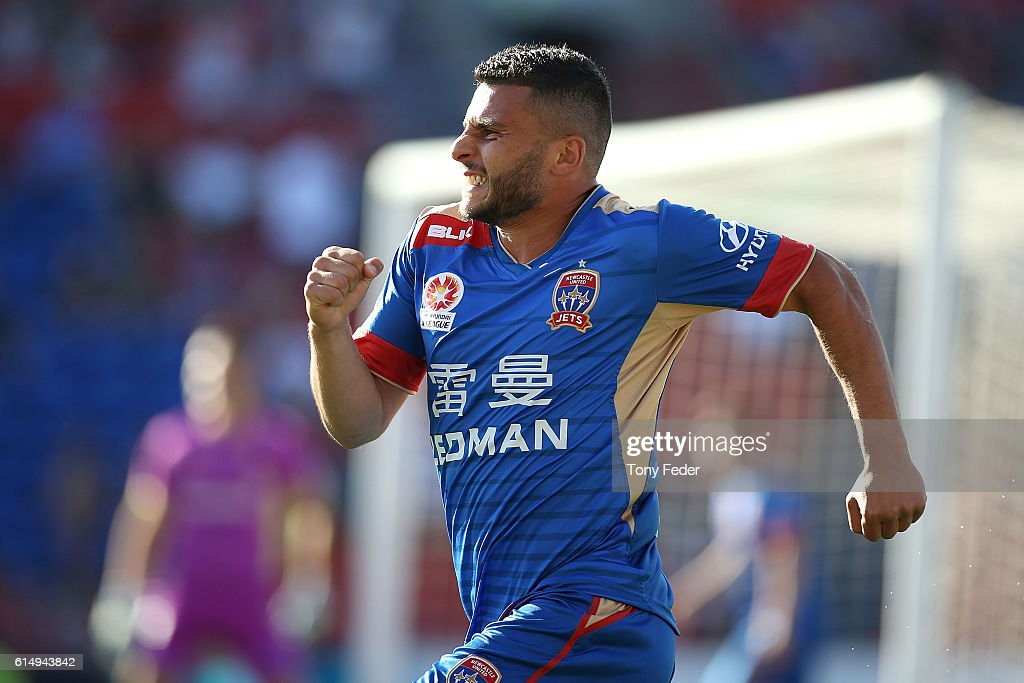 Andrew Nabbout of the Jets celebrates after scoring a goal during the round two A-League match between the Newcastle Jets and the Brisbane Roar at Hunter Stadium on October 16, 2016 in Newcastle, Australia.