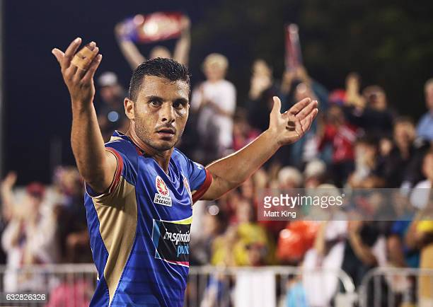 Andrew Nabbout of the Jets celebrates scoring the first goal during the round 17 ALeague match between the Newcastle Jets and Melbourne City at Coffs...