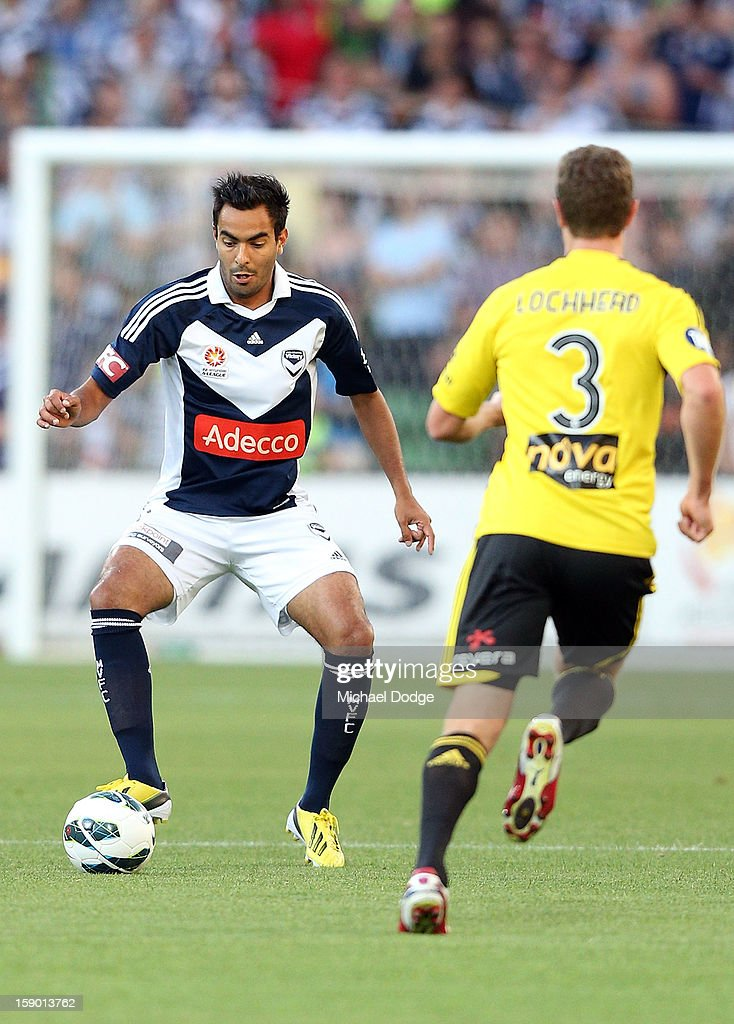 Andrew Nabbout of the Melbourne Victory controls the ball during the round 15 A-League match between the Melbourne Victory and Wellington Phoenix at AAMI Park on January 5, 2013 in Melbourne, Australia.