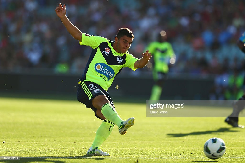 Andrew Nabbout of the Victory shoots at goal during the round 14 A-League match between the Western Sydney Wanderers and the Melbourne Victory at Parramatta Stadium on January 1, 2013 in Sydney, Australia.