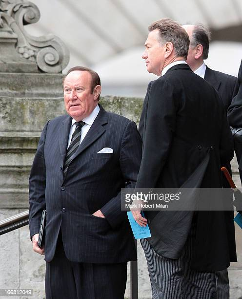 Andrew Neil and Michael Portillo sighting during the funeral of former British prime minister Margaret Thatcher on April 17 2013 in London England