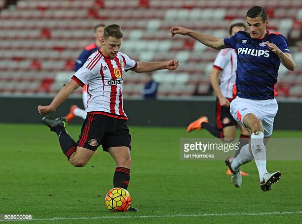 Andrew Nelson of Sunderland has a shot during the Premier League International Cup match between Sunderland and PSV Eindhoven at The Stadium of Light...