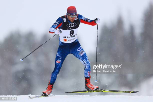 Andrew Newell of the United States competes in the Men's 16KM Cross Country Sprint qualification round during the FIS Nordic World Ski Championships...
