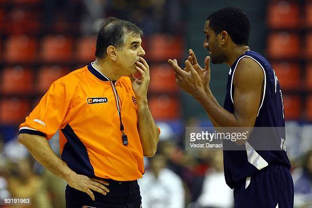 Andrew Nicholas of Efes Pilsen Istanbul talks with the referee during the Euroleague Basketball Game 2 between Efes Pilsen Istanbul and Armani Jeans...