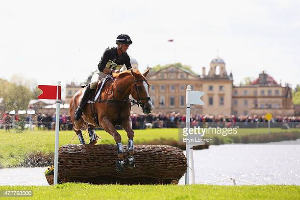 Andrew Nicholson of New Zealand rides Nereo during the CrossCountry Test at the Badminton Horse Trials 2015 on May 9 2015 in Badminton Gloucestershire