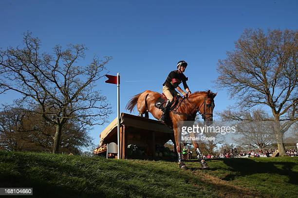 Andrew Nicholson of New Zealand riding Nereo clears the twelth fence during the Cross Country Test of the Badminton Horse Trials on May 5 2013 in...