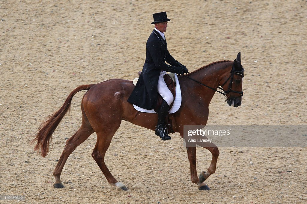 Andrew Nicholson of New Zealand riding Nereo competes in the Dressage Equestrian event on Day 2 of the London 2012 Olympic Games at Greenwich Park on July 29, 2012 in London, England.