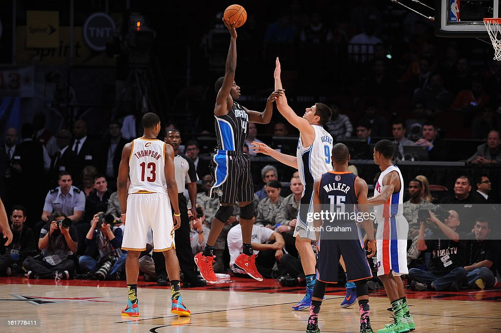 Andrew Nicholson #44 of Team Shaq shoots against Nikola Vucevic #9 of Team Chuck during the 2013 BBVA Rising Stars Challenge on February 15, 2013 at Toyota Center in Houston, Texas.