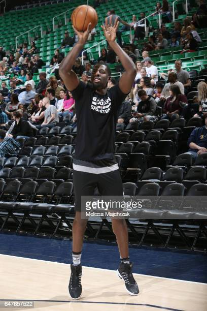 Andrew Nicholson of the Brooklyn Nets warms up before the game against the Utah Jazz on March 3 2017 at vivintSmartHome Arena in Salt Lake City Utah...