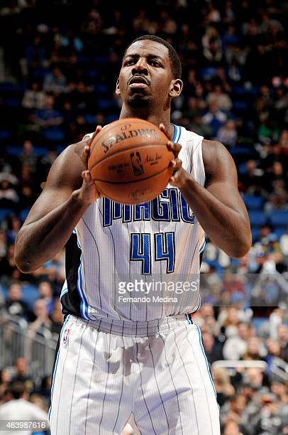 Andrew Nicholson of the Orlando Magic attempts a free throw against the New Orleans Pelicans on February 20 2015 at Amway Center in Orlando Florida...