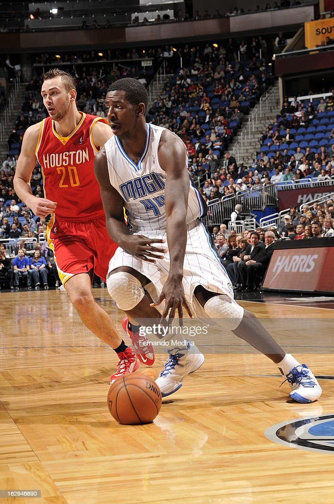 Andrew Nicholson #44 of the Orlando Magic dribbles the ball up the floor against the Houston Rockets during the game on March 1, 2013 at Amway Center in Orlando, Florida.