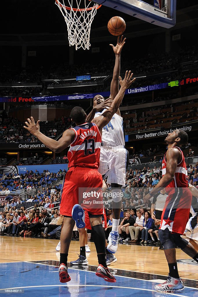 Andrew Nicholson #44 of the Orlando Magic drives to the basket against the Washington Wizards on March 29, 2013 at Amway Center in Orlando, Florida.