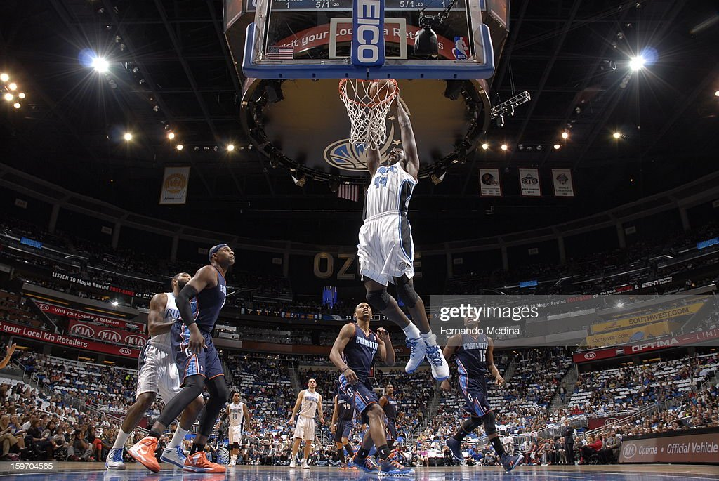 Andrew Nicholson #44 of the Orlando Magic dunks against the Charlotte Bobcats on January 18, 2013 at Amway Center in Orlando, Florida.