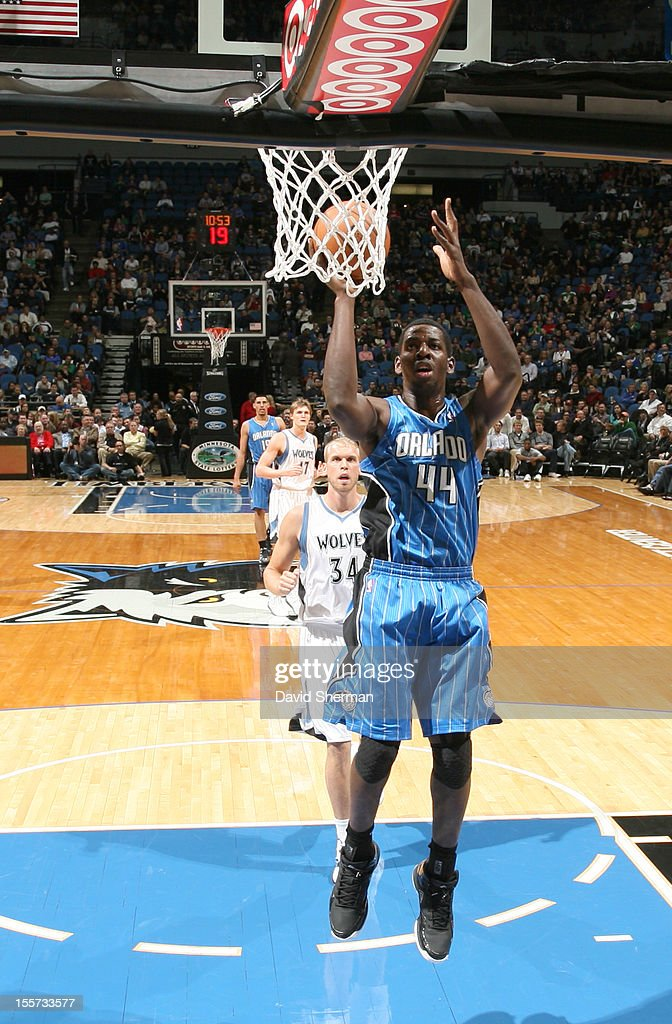 Andrew Nicholson #44 of the Orlando Magic goes to the basket during the game between the Minnesota Timberwolves and the Orlando Magic on November 7, 2012 at Target Center in Minneapolis, Minnesota.