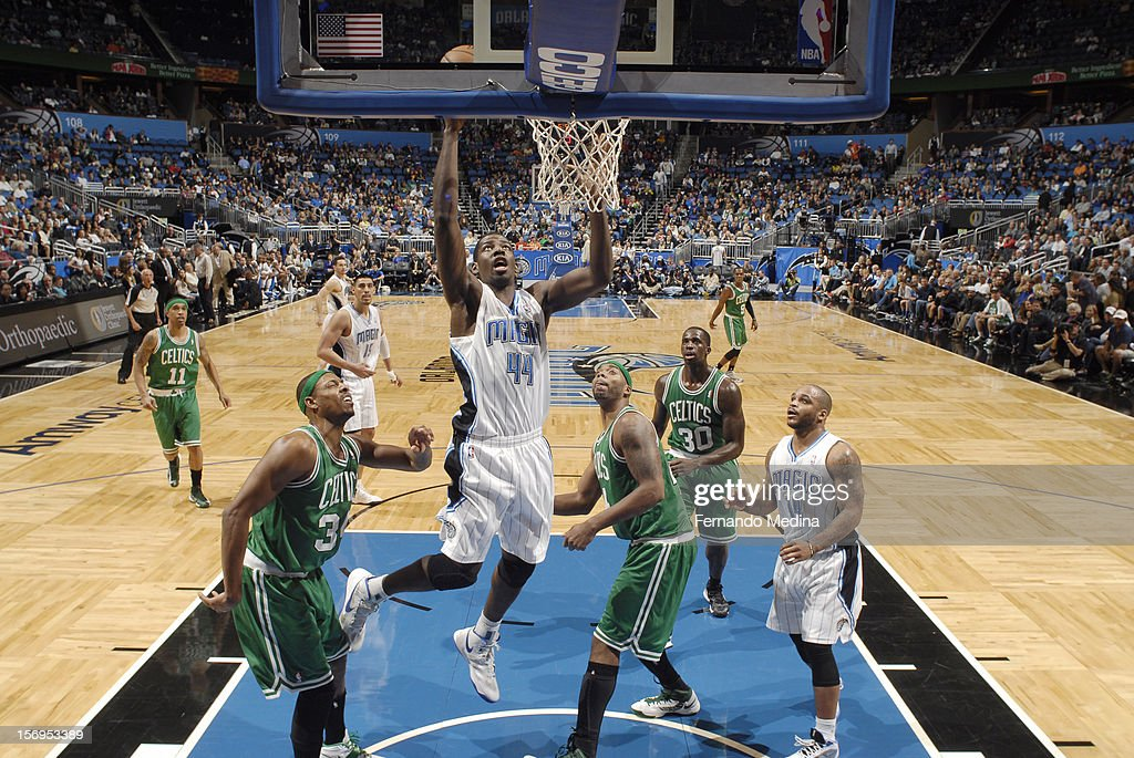 Andrew Nicholson #44 of the Orlando Magic goes to the basket during the game between the Boston Celtics and the Orlando Magic on November 25, 2012 at Amway Center in Orlando, Florida.