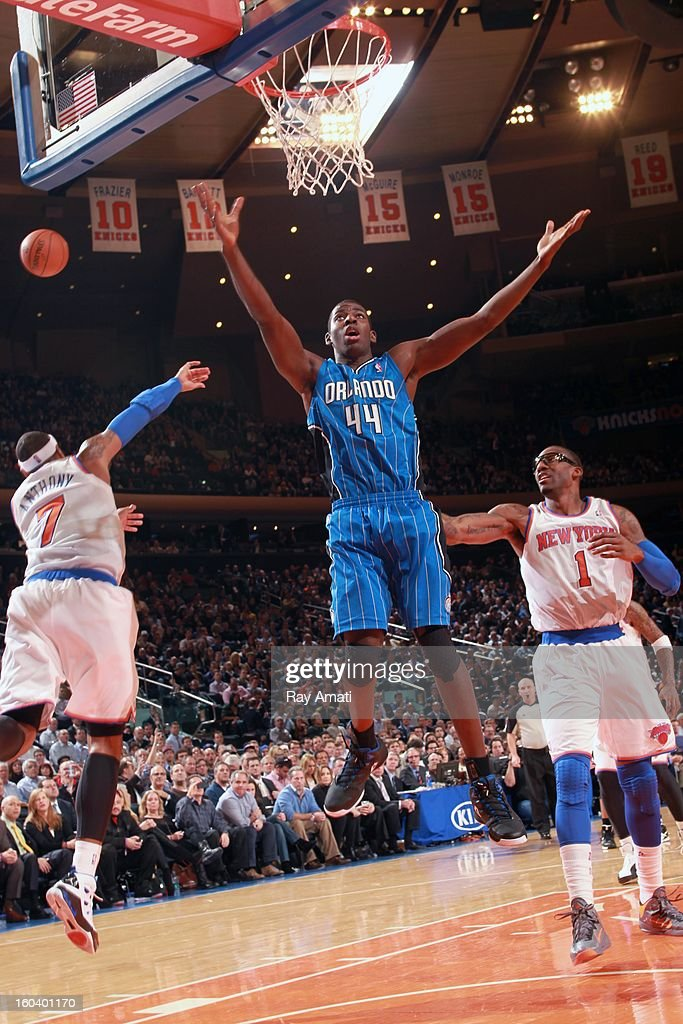 Andrew Nicholson #44 of the Orlando Magic goes to the basket in a game against the New York Knicks on January 30, 2013 at Madison Square Garden in New York City.