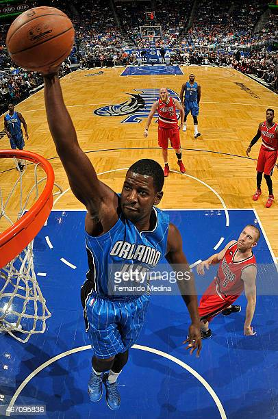 Andrew Nicholson of the Orlando Magic goes up for a dunk against the Portland Trail Blazers on March 20 2015 at Amway Center in Orlando Florida NOTE...