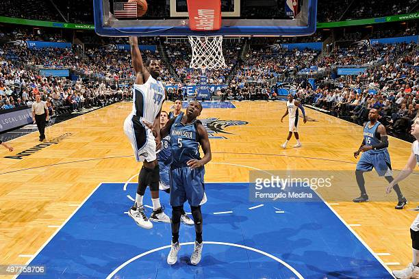 Andrew Nicholson of the Orlando Magic goes up for a dunk against the Minnesota Timberwolves on November 18 2015 at Amway Center in Orlando Florida...