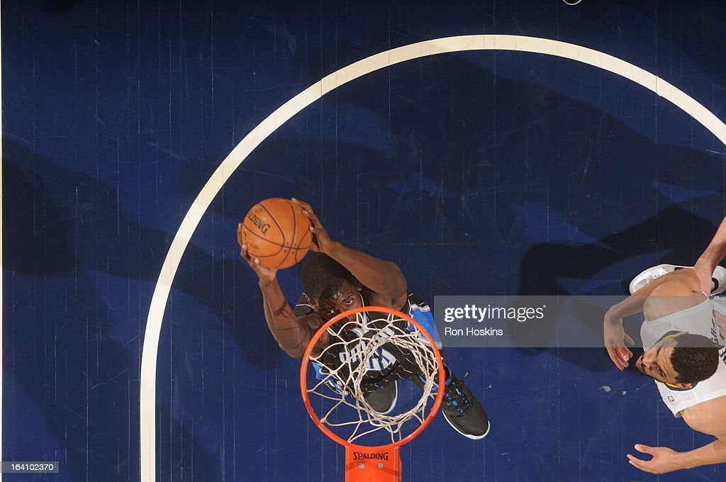 Andrew Nicholson #44 of the Orlando Magic goes up for the dunk against the Indiana Pacers Orlando Magic on March 19, 2013 at Bankers Life Fieldhouse in Indianapolis, Indiana.