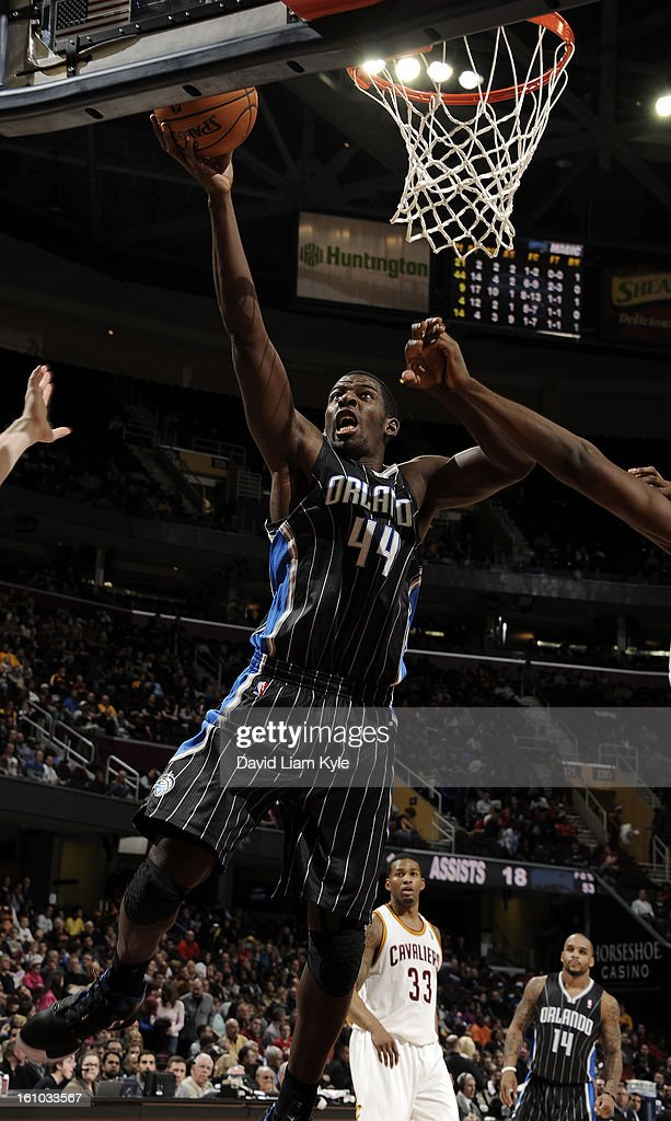 Andrew Nicholson #44 of the Orlando Magic goes up for the shot against the Cleveland Cavaliers at The Quicken Loans Arena on February 8, 2013 in Cleveland, Ohio.
