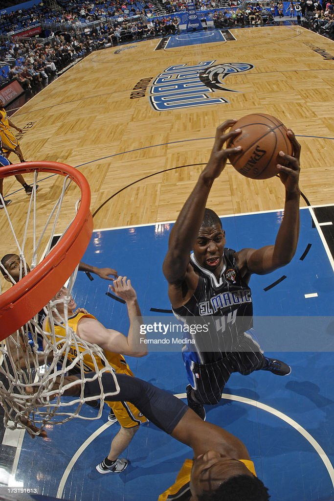 Andrew Nicholson #44 of the Orlando Magic grabs a rebound against the Indiana Pacers on March 8, 2013 at Amway Center in Orlando, Florida.