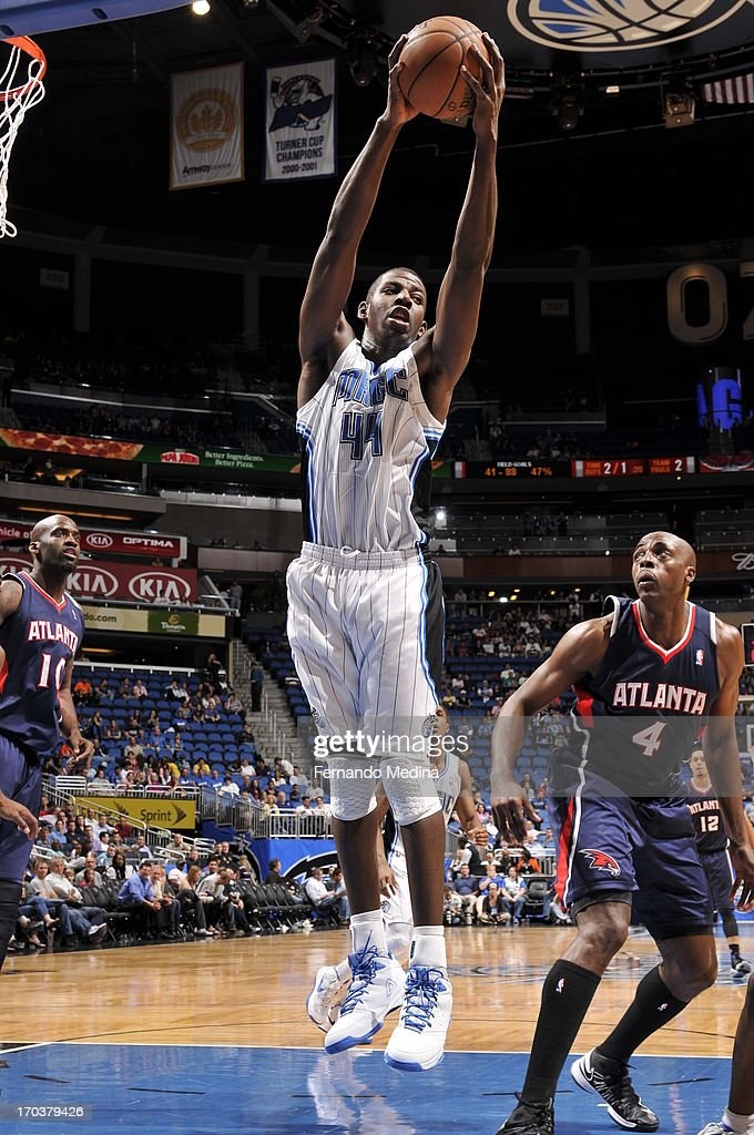 Andrew Nicholson #44 of the Orlando Magic grabs the rebound against the Atlanta Hawks on February 13, 2013 at Amway Center in Orlando, Florida.