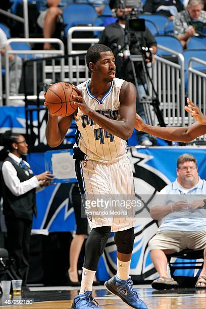Andrew Nicholson of the Orlando Magic handles the ball against the Denver Nuggets on March 22 2015 at Amway Center in Orlando Florida NOTE TO USER...