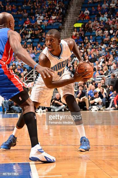 Andrew Nicholson of the Orlando Magic handles the ball against the Detroit Pistons on March 27 2015 at Amway Center in Orlando Florida NOTE TO USER...