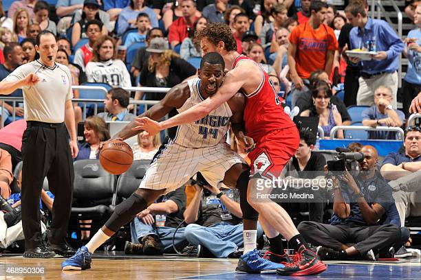 Andrew Nicholson of the Orlando Magic handles the ball against the Chicago Bulls on April 8 2015 at Amway Center in Orlando Florida NOTE TO USER User...