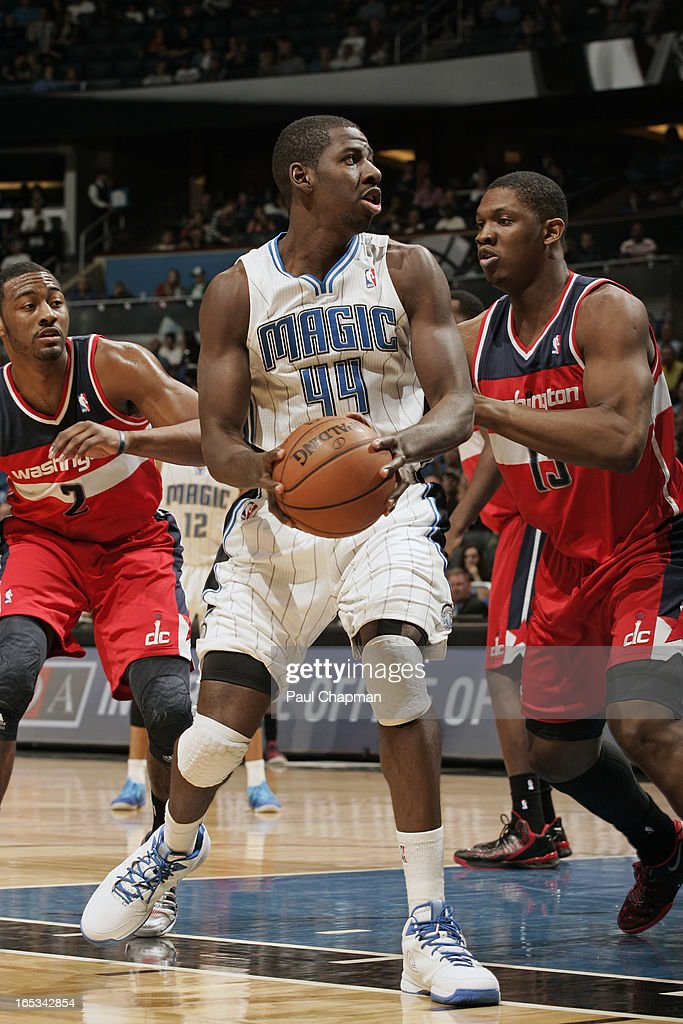 Andrew Nicholson #44 of the Orlando Magic looks to shoot the ball against the Washington Wizards on March 29, 2013 at Amway Center in Orlando, Florida.