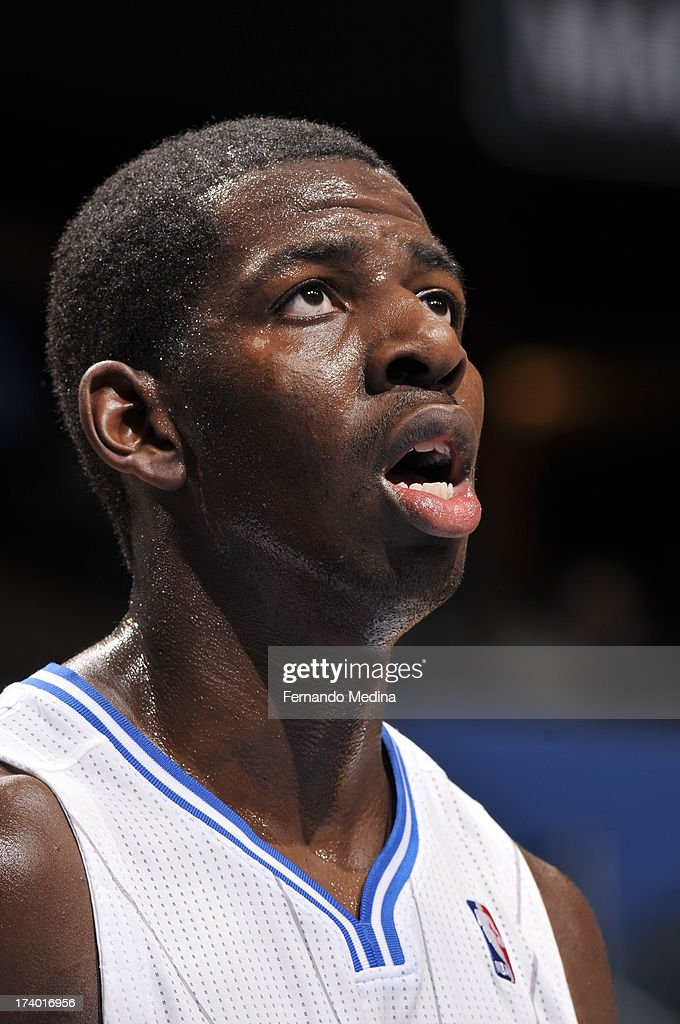 Andrew Nicholson #44 of the Orlando Magic looks up to the scoreboard against the Charlotte Bobcats during the game on February 19, 2013 at Amway Center in Orlando, Florida.