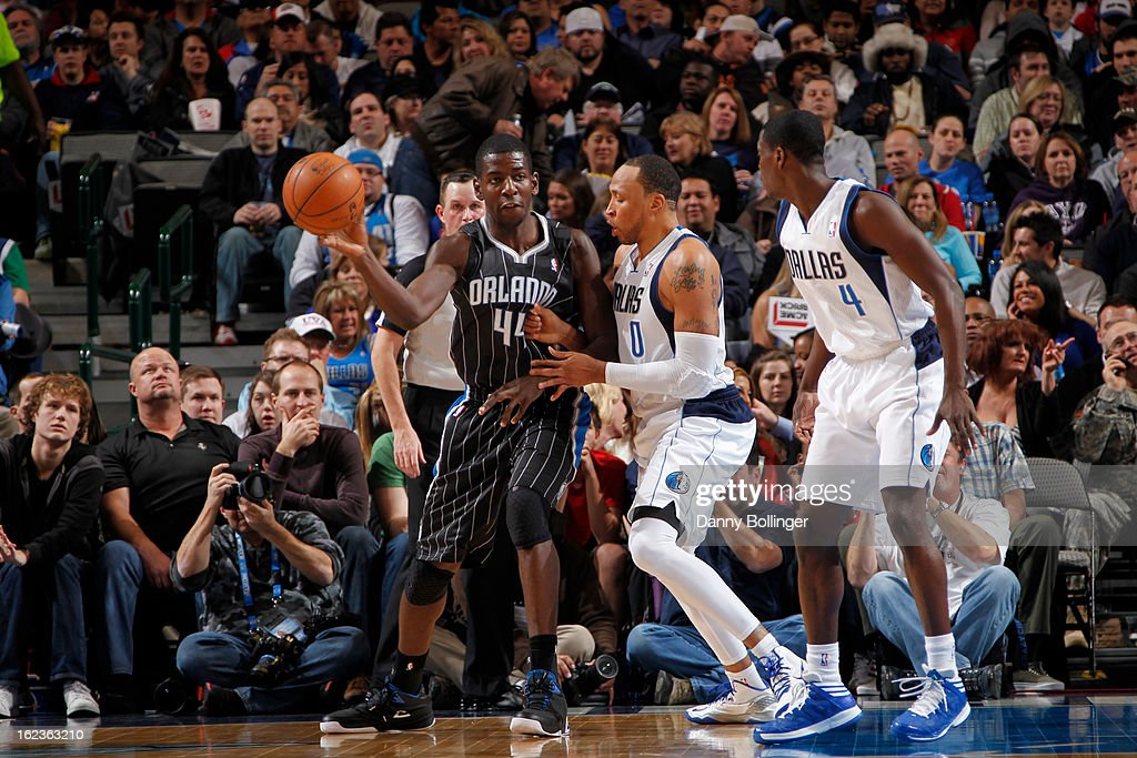 Andrew Nicholson #44 of the Orlando Magic passes the ball against the Dallas Mavericks on February 20, 2013 at the American Airlines Center in Dallas, Texas.