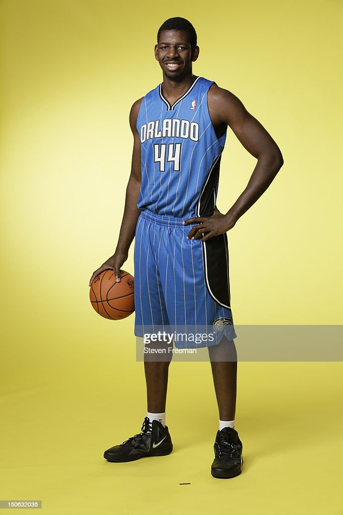 Andrew Nicholson #44 of the Orlando Magic poses for a portrait during the 2012 NBA rookie photo shoot on August 21, 2012 at the MSG Training Facility in Tarrytown, New York.