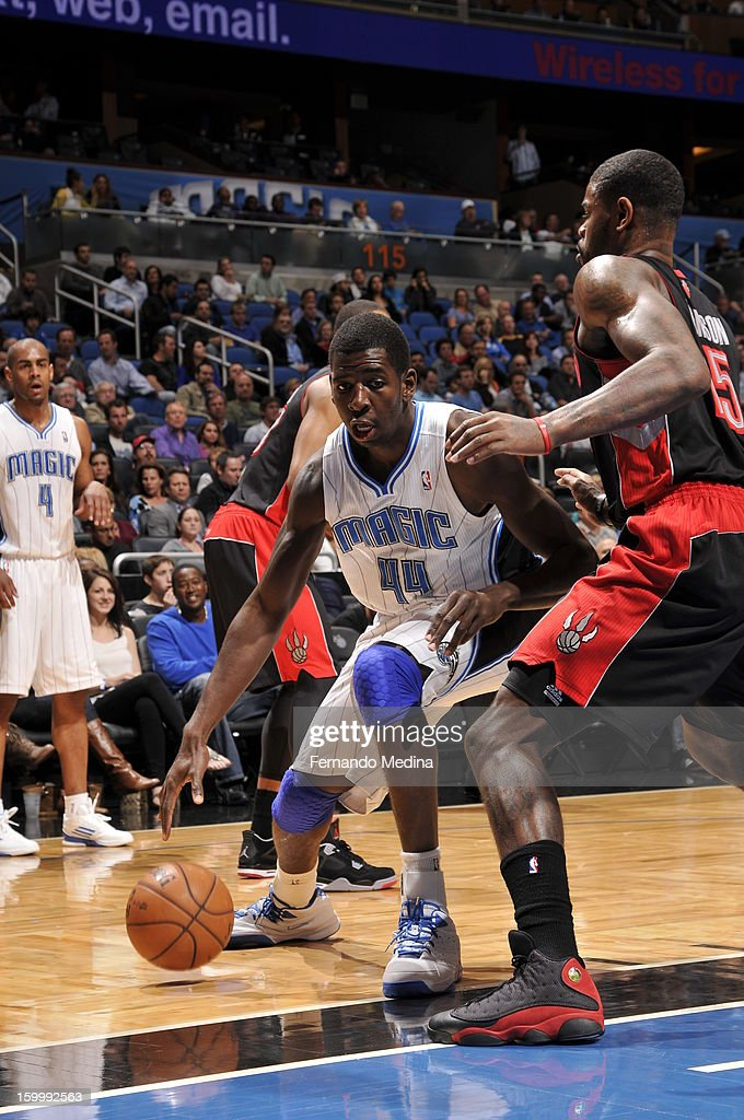 Andrew Nicholson #44 of the Orlando Magic posts up against the Toronto Raptors during the game on January 24, 2013 at Amway Center in Orlando, Florida.