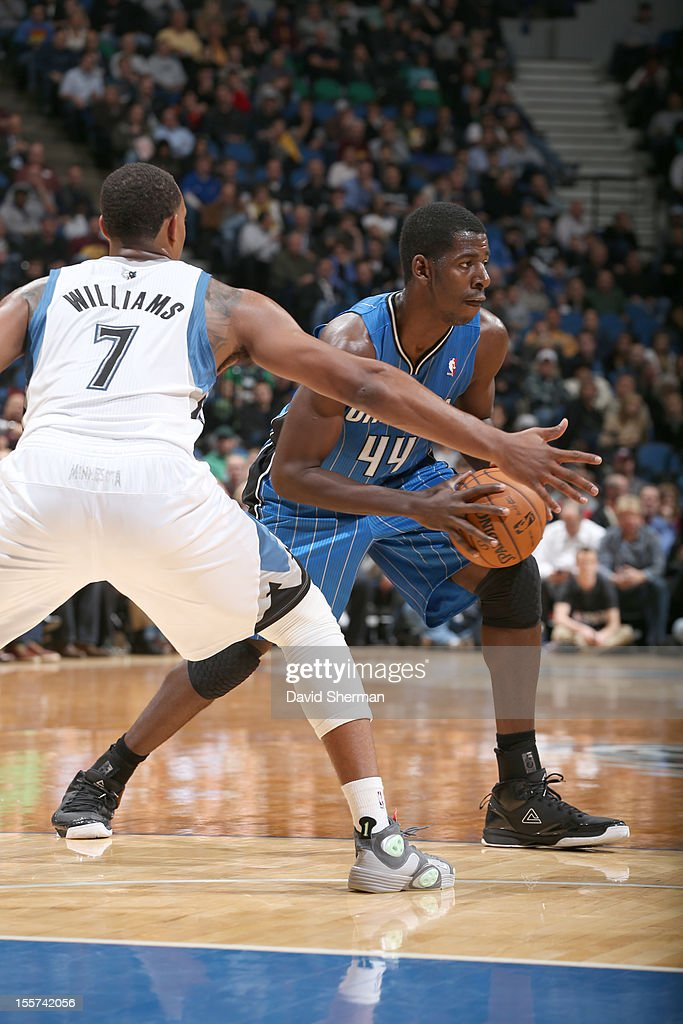 Andrew Nicholson #44 of the Orlando Magic protects the ball from Derrick Williams #7 of the Minnesota Timberwolves during the game between the Minnesota Timberwolves and the Orlando Magic on November 7, 2012 at Target Center in Minneapolis, Minnesota.