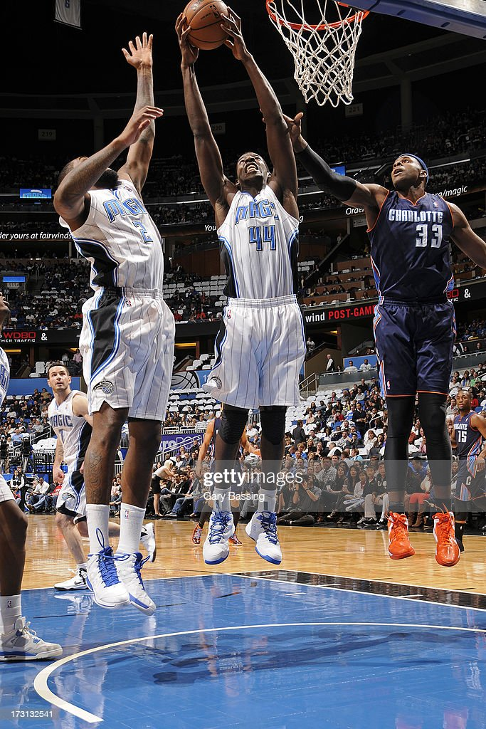 Andrew Nicholson #44 of the Orlando Magic pulls down a rebound during a game against the Charlotte Bobcats on January 18, 2013 at Amway Center in Orlando, Florida.