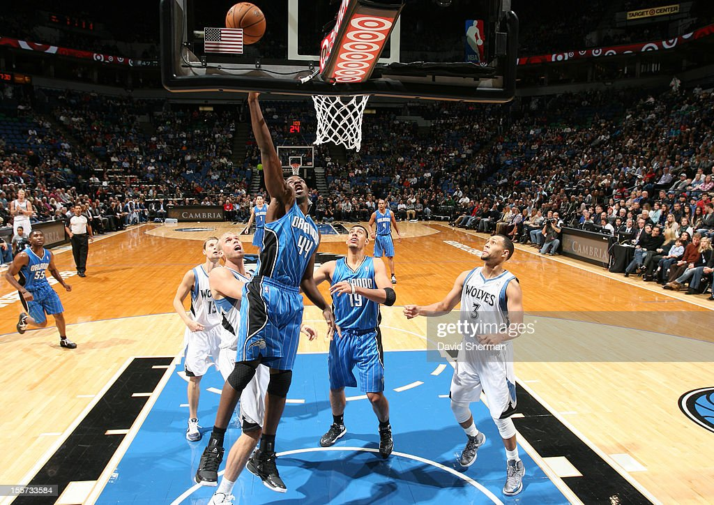 Andrew Nicholson #44 of the Orlando Magic sends the ball to the basket during the game between the Minnesota Timberwolves and the Orlando Magic on November 7, 2012 at Target Center in Minneapolis, Minnesota.