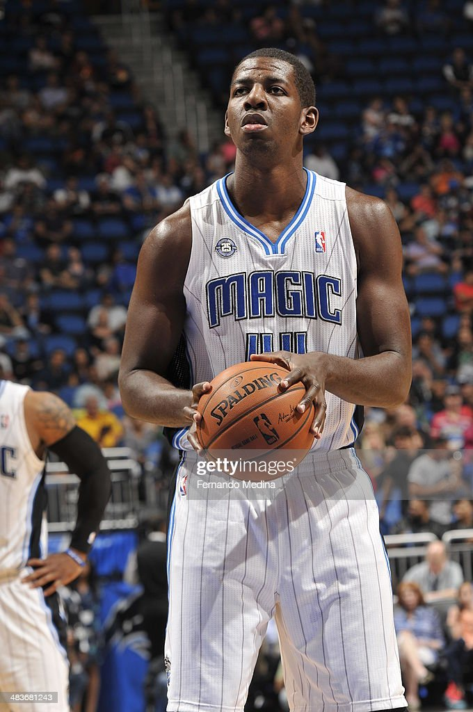 Andrew Nicholson #44 of the Orlando Magic shoots a foul shot against the Brooklyn Nets during the game on April 9, 2014 at Amway Center in Orlando, Florida.