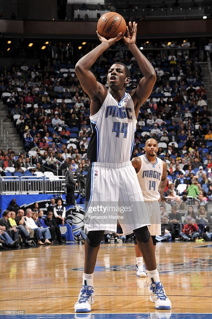 Andrew Nicholson #44 of the Orlando Magic shoots a free throw against the Charlotte Bobcats on January 18, 2013 at Amway Center in Orlando, Florida.