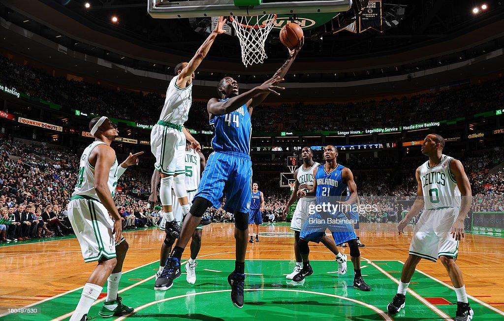 Andrew Nicholson #44 of the Orlando Magic shoots a layup against the Boston Celtics on February 1, 2013 at the TD Garden in Boston, Massachusetts.
