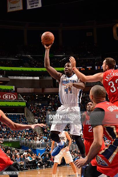 Andrew Nicholson of the Orlando Magic shoots against the New Orleans Pelicans on February 20 2015 at Amway Center in Orlando Florida NOTE TO USER...