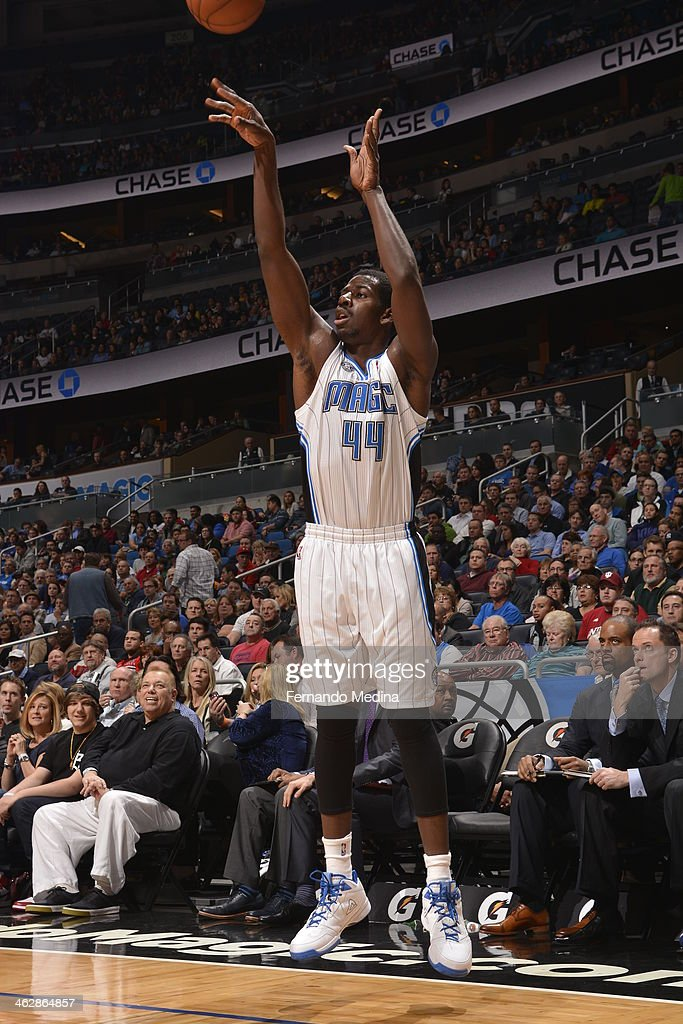 Andrew Nicholson #44 of the Orlando Magic shoots the ball against the Chicago Bulls Bulls during the game on January 15, 2014 at Amway Center in Orlando, Florida.
