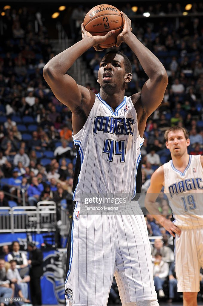 Andrew Nicholson #44 of the Orlando Magic takes a foul shot against the Houston Rockets during the game on March 1, 2013 at Amway Center in Orlando, Florida.