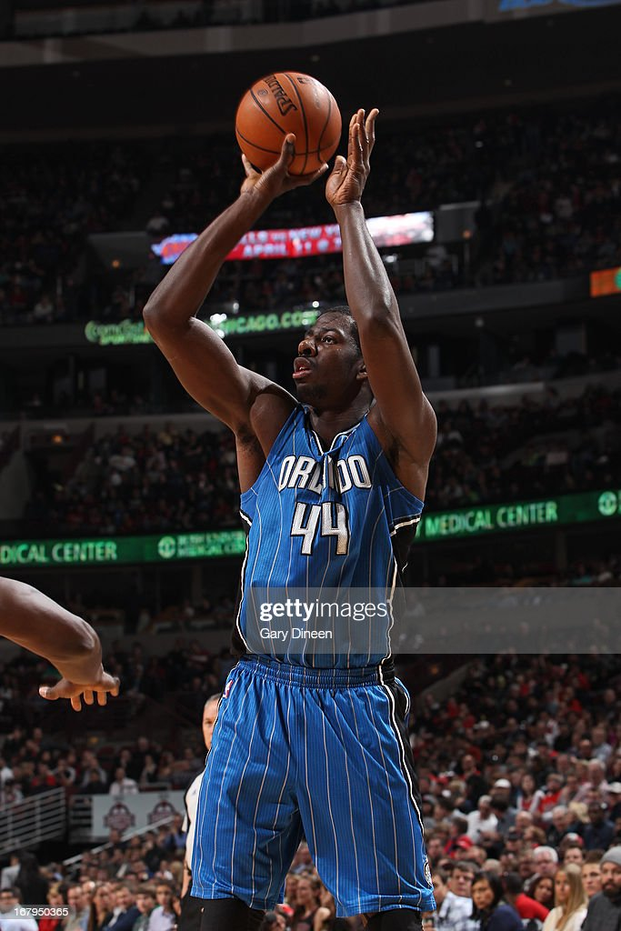 Andrew Nicholson #44 of the Orlando Magic takes a shot against the Chicago Bulls on April 05, 2013 at the United Center in Chicago, Illinois.