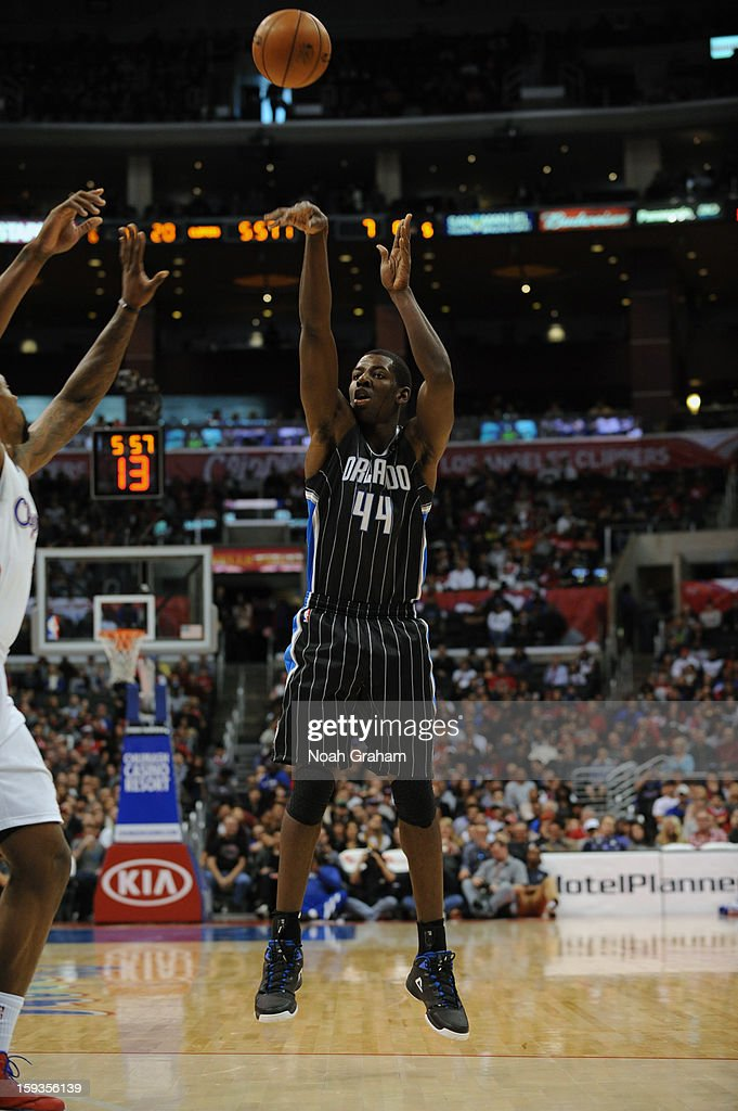 Andrew Nicholson #44 of the Orlando Magic takes a shot against the Los Angeles Clippers at Staples Center on January 12, 2013 in Los Angeles, California.