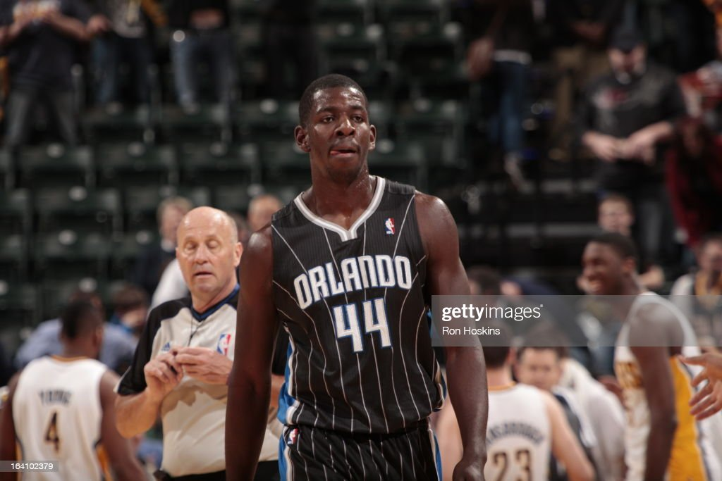 Andrew Nicholson #44 of the Orlando Magic walks up the court after a play against the Indiana Pacers Orlando Magic on March 19, 2013 at Bankers Life Fieldhouse in Indianapolis, Indiana.
