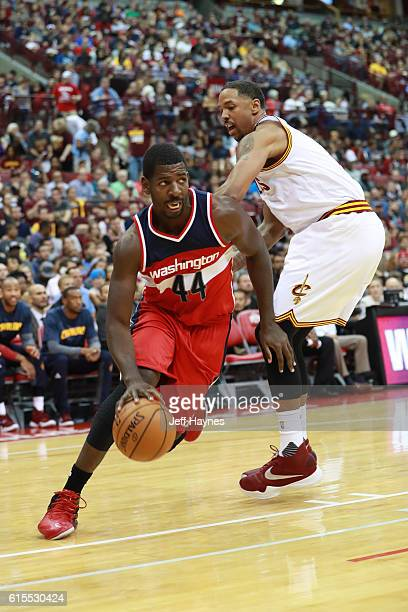 Andrew Nicholson of the Washington Wizards drives to the basket during a preseason game against the Cleveland Cavaliers on October 18 2015 at Value...
