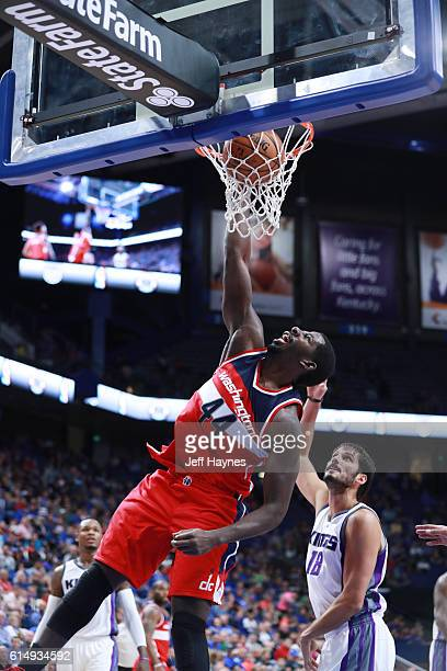 Andrew Nicholson of the Washington Wizards dunks the ball against the Sacramento Kings on October 15 2016 at Rupp Arena in Lexington Kentucky NOTE TO...